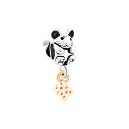 Wholesale mouse love - Personalized jewelry Adorable Mouse With Cheese European bead metal charm ladies bracelet with big hole Pandora Chamilia Compatible
