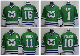 Wholesale Ron Francis Jersey - Men's Throwback Hartford Whalers 1 Mike Liut 10 Ron Francis 11 Kevin Dineen 16 Patrick Verbeek Greeen Ice Hockey Jersey Stitched
