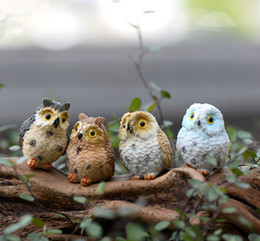 Wholesale Craft Owls - 4pcs Miniature Owl DIY Craft Woodland Flower Planter Potted Garden Home Decoration fairy World Decoration