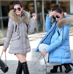 Wholesale Blue Fur Coat Hood Women - Womens winter jackets and coats Parkas for women 4 Colors Wadded Jackets warm Outwear With a Hood Large Faux Fur Collar