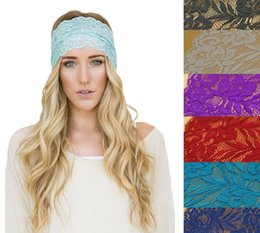 Wholesale Hair Styling Accessories For Women - Hot New hair accessories for womens girls NEW Style Women Bandanas Lace Head wrap girls wide chic turban Hair Band Headbands
