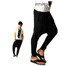 Wholesale New Korean Style Man Trousers - Wholesale-Korean Style Fashion Sweats Sport Harem Sweatpants Baggy Hip Hop Trousers New 2016 Mens Jogger Pants Drop Crotch Pants DP669374