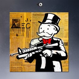 Wholesale Art Newspapers - NEWSPAPER GUN Alec monopoly wall street arts canvas print POP ART Giclee poster print on canvas for wall decoration painting