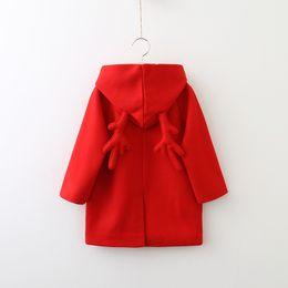 Wholesale Red Wool Coat Wholesaler - Christmas New Girls Winter Coat Children Long Coat woolen kids overcoat With Hood Duffle Coat Wool Coats Girls Clothes Child Clothing A1391