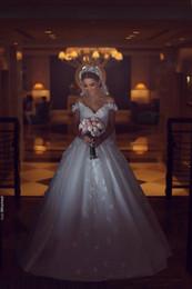 Wholesale Princess Cathedral Veil - Newest Arabic 2018 Off Shoulder Lace Applique Wedding Dresses A Line Vintage Said Mhamad Bridal Gowns With Long Train Veil