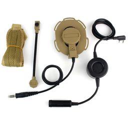 fone de ouvido kenwood pin Desconto Atacado-HD03 Z Tático Bowman Elite II Headset com PTT à prova d'água Orelha Direita / Esquerda para Kenwood 2 Pin Two-way Radios Amarelo