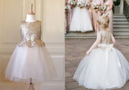 Wholesale Toddler Girl Party Sequin Dresses - Cute Shiny Dresses for Toddler 2016 Sequins Princess with Bow Sash Floor Length Kids Pageant Party Gowns Lovely Girl Dresses BA1411