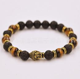 Wholesale Porcelain Buddha - Buddha Men and Woman Bracelets 2015 New Lava Stone Bracelet Beads Gold Buddha Black Yoga Bracelet Unisex Jewelry-J580