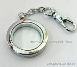 Wholesale Glass Locket Key Chains - Free shipping 5pcs Plain Round Living Floating Memory Glass Locket Key Chain(no charms)