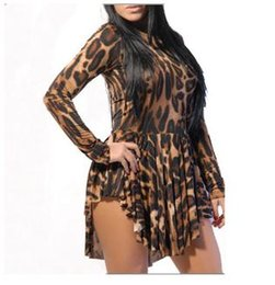 Wholesale Cheap Womens Party Clothes - Womens Sexy Dresses Party Night Club Dress 2016 Leopard Bodycon Clubwear Women Pleated Vestidos Femininos Long Sleeve Cheap Clothes China