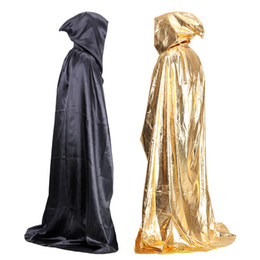 Wholesale Death Costumes - 2015 Halloween Costumes Halloween Vampire Cloak hooded Witch Wizard Cloak Death Gown Robe Fancy Cosplay 150CM For adult 300pcs lot