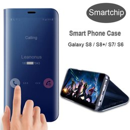 Wholesale Galaxy Sleep Wake Case - Smart Mirror Electroplate Clear View Sleep wake Flip Phone Cover with Holder for iphone 6 7 8 X samsung galaxy s7 S8 S8 plus note8
