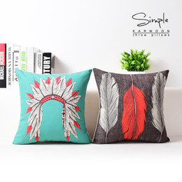 Wholesale Indian Cushion Covers - Wholesale-Indian pillow case, Native American Indian style headdress Feather throw pillow cushion cover pillow cover wholesale