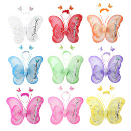 Wholesale Blue Wings Costume - Butterfly Wings Baby Clothes Girls Clothes Christmas Shirts New Fashion Butterfly Angel Fairy Wing for Baby Infant Toddler Child Costume Hot