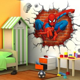 Wholesale Boy Nursery Decor - 45*50cm hot 3d hole famous cartoon movie spiderman wall stickers for kids rooms boys gifts through wall decals home decor mural