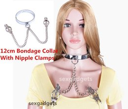 Wholesale Slave Collared Women Metal - 12cm Female Metal BDSM Slave Sex Collars Neck Restraints Bondage Gear Collar with Clover Nipple Clamps Adult Toys for Women XLY-ASL-XQ0085