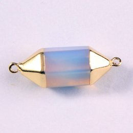 Wholesale Double Connector Charms - 2016 Gold Plated Natural Gem Stone Six Angle double connector Hexagon Prism Reiki Pendulum Pendant Charms Chakra Amulet DIY Jewelry 12X Mix