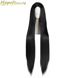 cosplay white straight long hair Coupons - Long Straight Hair 40 inch 100cm Cosplay Wig Black White Brown 4 Colors Heat Resistant Synthetic Wigs Women Ladies Party Mapofbeauty