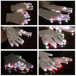 Wholesale White Led Glow Lights - Big Disocunt-10pairs white LED Lighting Glow Gloves Batteries Included Rave Light Flashing Finger for christmas party