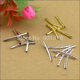Wholesale Threaded Silver Beads - Wholesale-100pcs  lot 2*25mm Gold  Silver  Rhodium Twist Thread Copper Tube Jewelry Findings Tube Connectors Beads DIY Material F1728-1