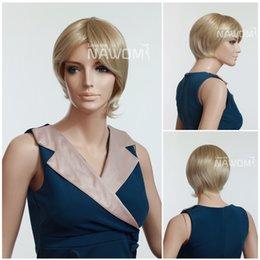 Wholesale Kanekalon European - Office ladies Elegant short blonde wigs Best Selling European Women Stylish Wigs 100% Kanekalon + Free cap wigs Free Shipping