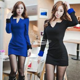 Wholesale Clubbing Girl Korean - Korean Fashion Women's Girl Long Sleeve Slim Mini party sexy club prom 2015 dresses for women summer dress Full Polyester