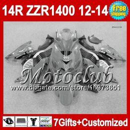 Wholesale Kawasaki Ninja White Grey - 7gifts For KAWASAKI NINJA ZZR1400 Grey black 12-13 2C5105 ZZR-1400 12 13 12 13 Grey white ZX14R 2012 2013 2012 2013 ZZR 1400 Fairing