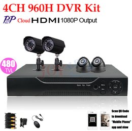 Wholesale Dvr Cctv 4ch Camera - Free shipping, HD 1080p CCTV home security video surveillance system 4CH CCTV System FULL 960H DVR kit Outdoor Camera P2P 3G