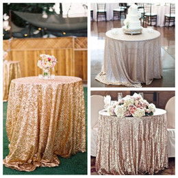 Wholesale Elegant Dresses Sequins - Gold Rose Sequined Table Cloth Sparkly Champagne Tablecloth Elegant Wedding Sequin Table Dress Fabrics 2016 Cheap Wholesale