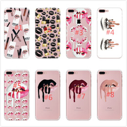 Wholesale Lip Cute - Red Lips and Cute Girl Phone Case For iPhone8 8Plus X 7 7Plus 6 6s Plus 6Plus Soft TPU Slicone Phone Back Cover Shell fundas