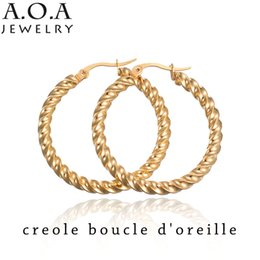 Wholesale Earrings Hoops Wave - Wholesale- Luxury Wave Cirle Hoop Earrings Gold-Color Stainless Steel Creole Earring Women Gift For Etsy