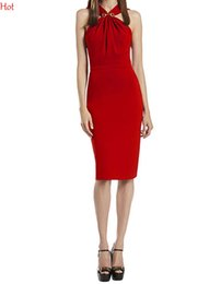 Wholesale Wedding Womens Clothing - Red Formal Bodycon Dresses Evening Party Wedding Prom Dresses Womens Clothing Sleeveless Bridesmaids Dress Knee Length Pencil Dress SV003543