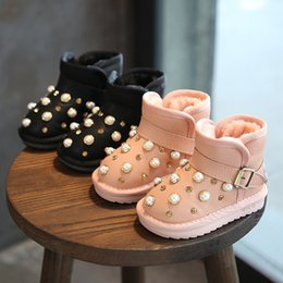 Wholesale Girls Boots Size 25 - Kids Girls Snow Boot Baby Girl Genuine Leather Warm Shoes 2018 Children Winter Pearl Rhinestone Booties Size 21-25(Toddler Little Kid)