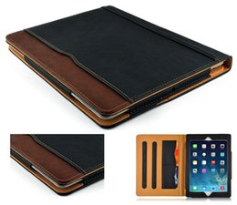 Wholesale Black Wallet Case - For 2017 iPad 10.5 Black & Tan Leather Wallet Stand Flip Case Smart Cover With Card Slots for iPad Air 2 3 4 5 6 Pro 9.7 Air2 Mini Mini4