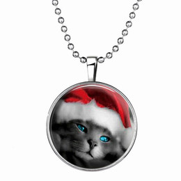 Wholesale Gemstone Cat - Christmas Gift Slide Pendant Necklace Cute Adorable Cat Punk Style Luminous Long Alloy Resin Gemstone Fashion Necklace 21g 60cm