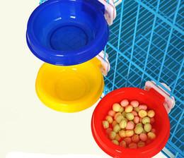Wholesale Vessel Bowls - Good Quality Plastic Pet Feeding Vessel Hanging Dog Food Bowl Feeder&Water Dog Cat Dish Water Bowl 2 Size Mix Color 5PCS LOT