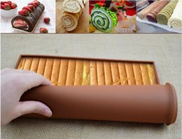 Wholesale roll cake mat - Cake Roll Mat Silicone Non-Stick Swiss Roll Molds Tray Square Shape Swiss Cake Rolls Pallets Chocolate Molds