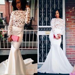 Wholesale Mermaid Dresess - South Africa See Through Lace Evening Dresess with Long Sleeve Bateau Neck Backless Court Train Prom Dress Party Formal Gowns 2015 Arabic