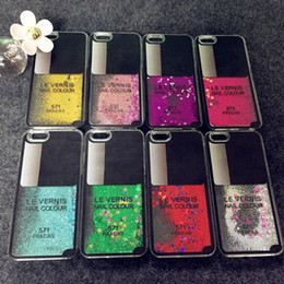 Wholesale Glitter Crystal Sand - New Le Vernis Nail Color Dynamic Liquid Glitter Sand Quicksand Star Case Coque For iphone6 6 Plus Crystal Clear phone Back Cover