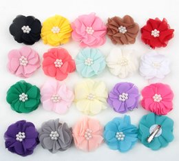 Wholesale Girls Chiffon Hair Clips - 20 colors high quality chiffon flowers with Pearl hair clip for girls handmade flower princess BB clip for children hair accessories