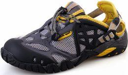 Wholesale Beach Water Sandals - Wholesale-mens womens summer leather sport walking hiking shoes sneakers waterproof outdoor beach sandals water shoes for men women HW123