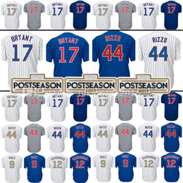 Wholesale Kris Bryant - Men's 44 Anthony Rizzo 17 Kris Bryant Baseball Jersey 9 Javier Bae 12 Kyle Schwarber Embroidery Jerseys Embroidery and 100% Stitched