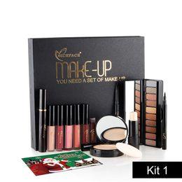 Wholesale Powder Eyeliner Pencil - NICEFACE Makeup Sets 13Pcs Christmas Gift Kit Cosmetics Eyeshadow Highlighter Eyeliner Matte Lipstick Eyebrow Pencil Powder Make Up Tool Kit
