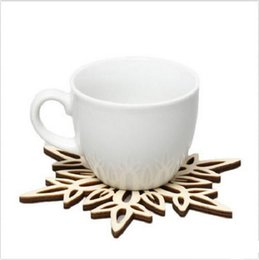 Wholesale Wooden Coffee Mugs - Wooden Snowflake Mug Coasters Holder Chic Drinks Coffee Tea Cup Mat Decor Mats 120pcs lot