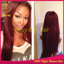 Wholesale Burgundy Long Half Wig - Virgin Malaysian Burgundy Lace Front Human Hair Wigs Straight Full Lace Wigs Human Hair Color #99j