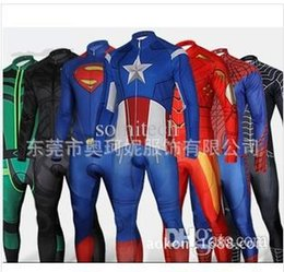 Wholesale Iron Spiderman Costume - Wholesale-Spiderman Superman Iron Man Captain America Bike riding clothes super hero cosplay carniva costume men halloween High quality