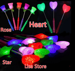 Wholesale Crystal Rose Toy - Free EMS DHL 100pcs NEW Crystal Heart Star Rose Christmas party supplies LED Glow Sticks Flash Sticks light up Wand Party Disco KTV toys