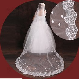 Wholesale Rhinestone Chapel Length Veils - New Real Image Wedding Veils Three Meters Long Veils Lace Applique One Layers Cathedral Length Cheap White Ivory Bridal Veil
