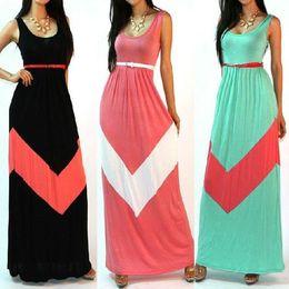 Wholesale Celebs Dresses Red - Fashion Women's Celeb Style Sleeveless Stripe Print Maxi Dress With Belt Beach Long Casual Dress 3 Colors