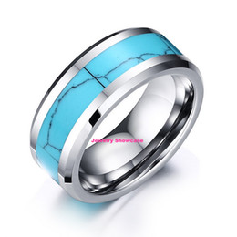 Wholesale Tungsten Sets - 8mm Tungsten Steel Men's Ring Blue Turquoise Inlay Polish Beveled Band US Size 7-12